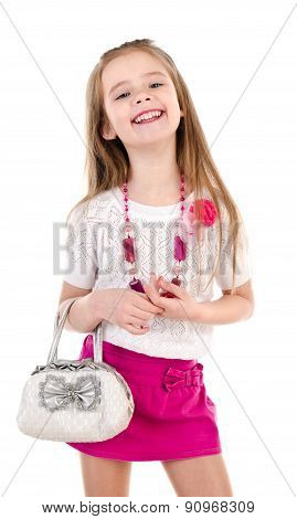 Adorable Happy Little Girl  Posing With Bag