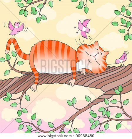 Funny Cat Sleeping On The Tree