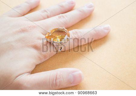 Hand On Gem Stone Jewellery Ring