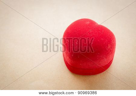 Red Velvet Heart Of Ring Box