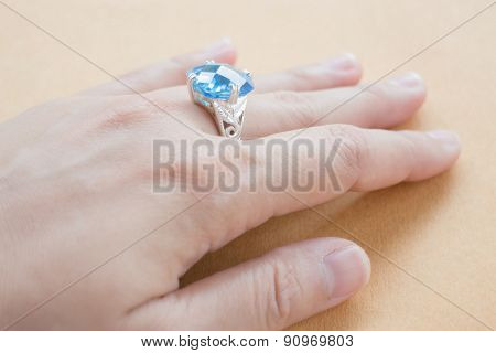 Hand On Gem Stone Jewellery Ring