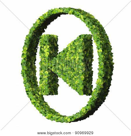 Media control step backward / forward icon, made from green leaves.