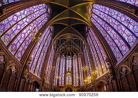 PARIS, FRANCE, March 15, 2015: The Sainte Chapelle (Holy Chapel) in Paris, France. The Sainte Chapelle is a royal medieval Gothic chapel in Paris and one of the most famous monuments of the city