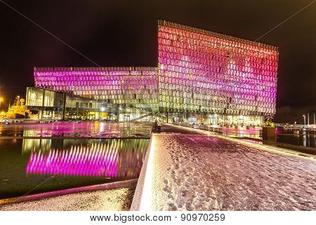 Reykjavik, Iceland - MAR 26, 2015: Exterior of Harpa concert hall on March 26, 2015 in Reykjavik, Iceland.  Harpa was opened on May 13, 2011