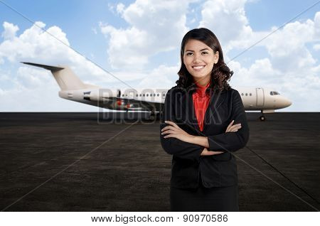 Young Business Woman At The Airport