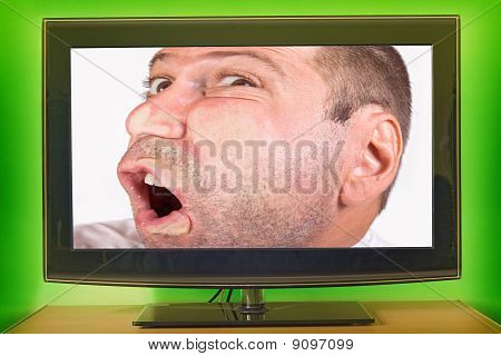 man face in tv
