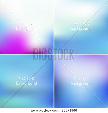 Abstract Blue Sea Aqua Summer Blurred Vector Backgrounds Set