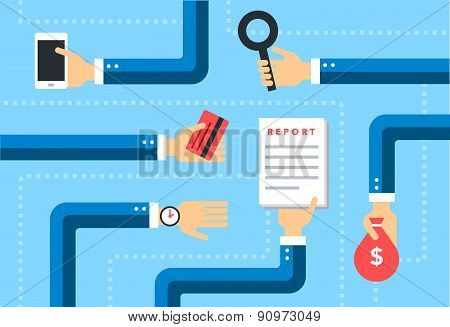 business flat vector background  with hands