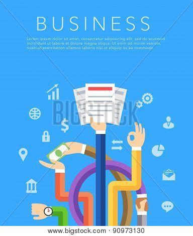 business hands flat vector background