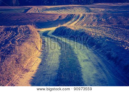 Vintage Photo Of Plowed Field In Calm Countryside