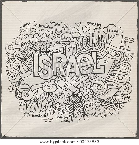 Israel hand lettering and doodles elements background
