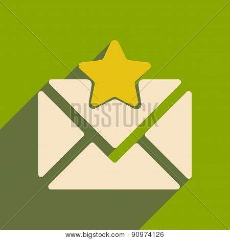 Flat with shadow icon and mobile applacation envelope star