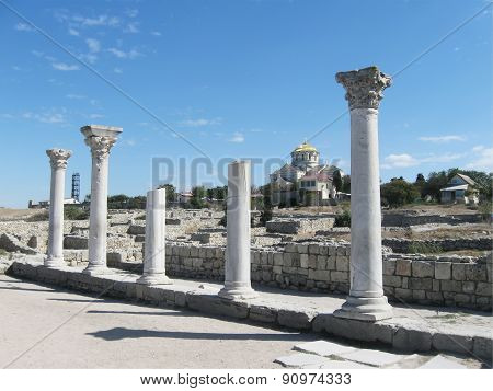 Ancient Chersonese, columns of Basilica 1935 (VI-X c.),look through Vladimir Cathedral, Sevastopol,