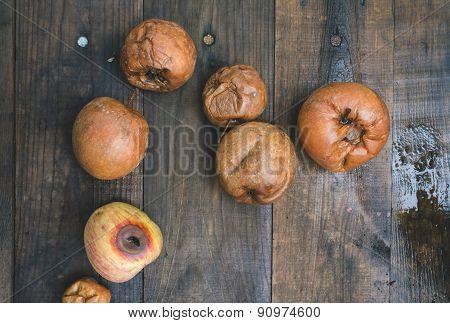 Rotten Apples On Wood