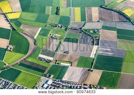Aerial Of Farmland Near Mainz