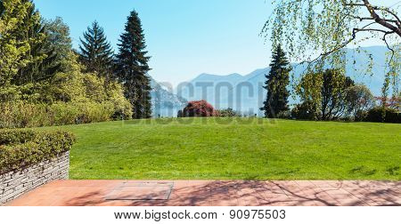 house, outdoor, beautiful park view from the veranda