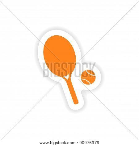 icon sticker realistic design on paper tennis