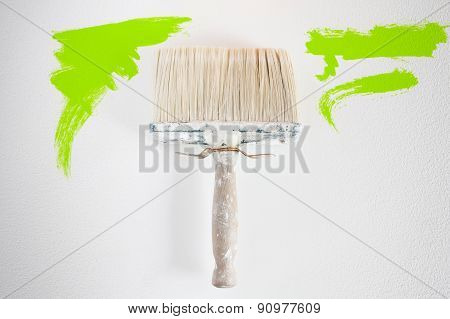 Dirty Wall Brush Painting With Green Paint