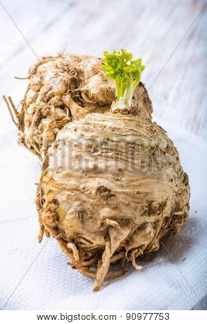 Celery Root On White Table