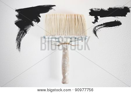 Dirty Wall Brush Painting With Black Paint