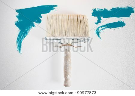 Dirty Wall Brush Painting With Blue Paint