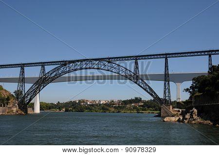 Historical Bridge Of The City Of Porto In Portugal