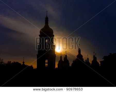 Saint Sophia Cathedral At Sunset. Kiev, Ukraine