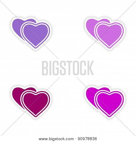 assembly realistic sticker design on paper hearts love