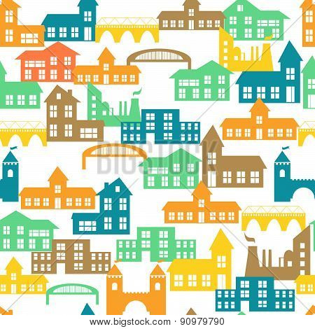 Seamless pattern with houses. Vector illustration