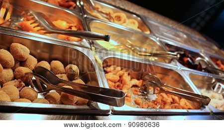 Chinese Takeaway Restaurant With Fried Fish And Other Salty Foods