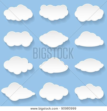 Messages in the form of Clouds. Set, Illustration Vector.
