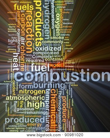 Background concept wordcloud illustration of combustion glowing light