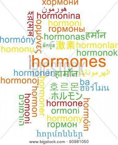 Background concept wordcloud multilanguage international many language illustration of hormones