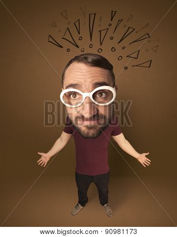 Funny guy with big head and drawn exclamation marks over it