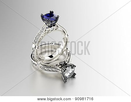Golden Ring with sapphire. Jewelry background