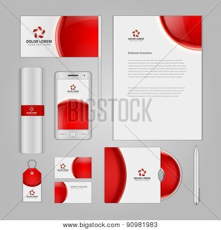Abstract Logotype corporate identity template Mock up design elements. Vector illustration white Business stationery objects.