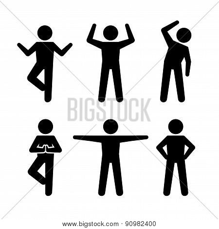 Yoga and Fitness Positions Black Silhouettes Human. Vector