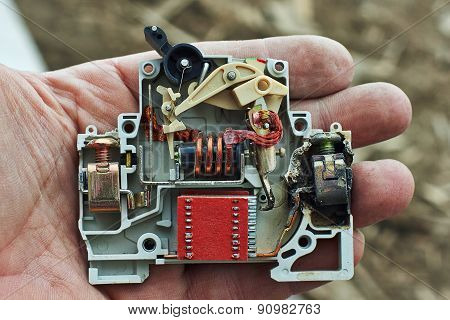 Electric Circuit Breaker Overload Burned.