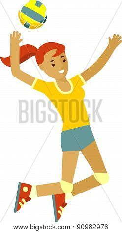 Smiling girl playing volleyball in flat style isolated on white background