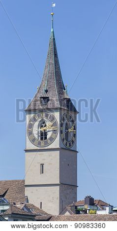 Clock Tower Of The St. Peter Church In Zurich