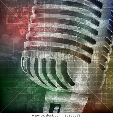 Abstract Grunge Background With Microphone