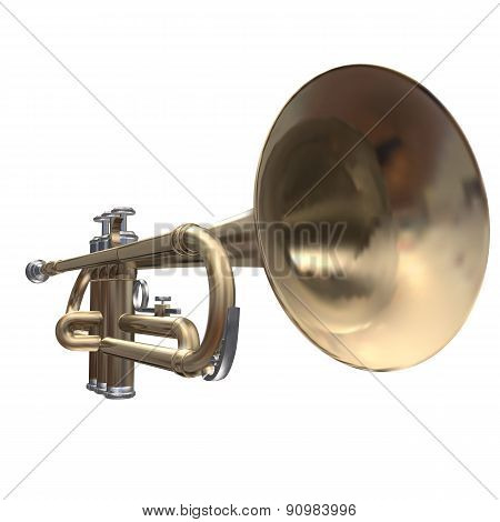 Isolated Trumpet On White Background