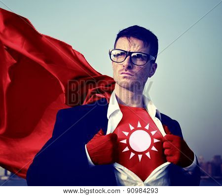 Strong Superhero Businessman Sun Concept