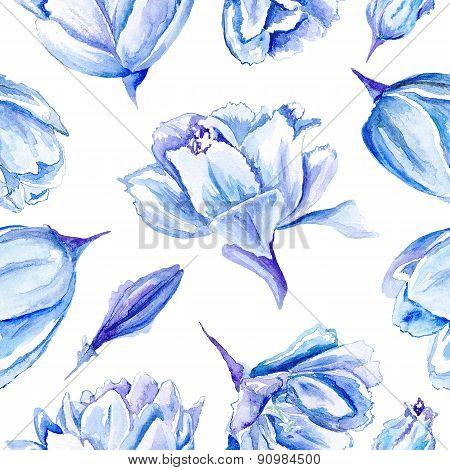 Blue Watercolor Tulip Pattern