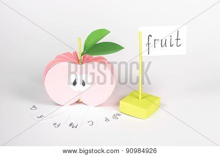 isolated paper apple and cardboard