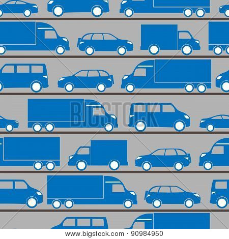 Seamless Pattern With Blue Little Cars