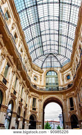 Vittorio Emmanuele Gallery Magnificent Interior, Milan, Italy