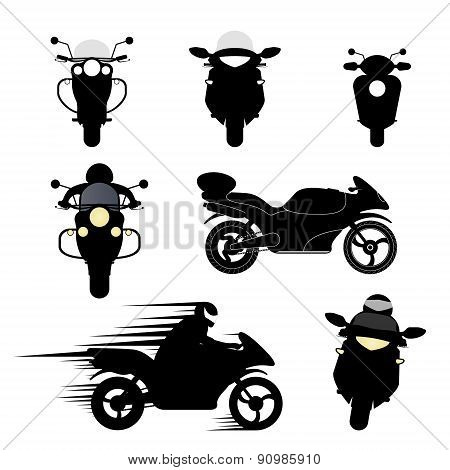 Silhouettes Of Motorcycles