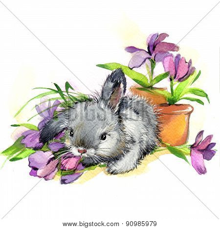 Funny bunny and flowers illustration.