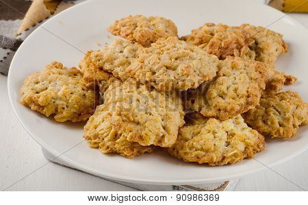 Freshly Baked Oatmeal Cookies On White Plate.